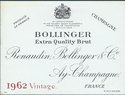 Etiquette CHAMPAGNE Bollinger Millésime 1962 - Champagne