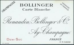 Etiquette CHAMPAGNE Bollinger Carte Blanche - Champagne