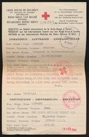 RODE KRUIS VAN BELGIE  - AANVRAGER  BLANKENBERGE NAAR VROUW IN LONDEN 28.10.43 TERUG GEZONDEN 10.4.1944  2 SCANS - 1939-45
