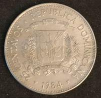REPUBLIQUE DOMINICAINE - 25 CENTAVOS 1984 - KM 61.1 - CUNA DE LOS DERECHOS HUMANOS HERMANAS MIRABAL - Dominicaine