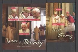 PK447 2016 GHANA POPE FRANCIS BENEDICT XVI YEAR OF MERCY #4685-87 MICHEL 16 EURO KB+BL MNH - Popes