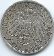 Prussia - Wilhelm II - 1907 A - 2 Mark - KM522 - [ 2] 1871-1918: Deutsches Kaiserreich