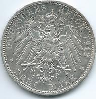Prussia - Wilhelm II - 1912 A - 3 Mark - KM527 - [ 2] 1871-1918: Deutsches Kaiserreich