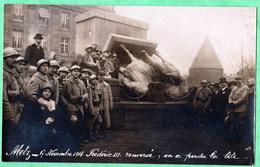 METZ - 17 NOVEMBRE 1918, FREDERIC III RENVERSE, EN A PERDU LA TETE - CARTE ENVOYEE PAR UN SOLDAT AMERICAIN - 2 SCANS - Metz