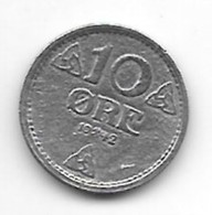 *norway 10 Ore 1942  Km 389  Xf !! - Norway