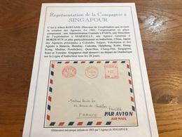 Lettre Cie Des Messageries Maritimes Agence De Singapour 1963 - Marcophilie (Lettres)