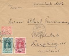 Nederlands Indië - 1924 - 5 & 12,5 Cent Jubileum + 2,5 Cent Op Business Cover Van Tegal Naar Leipzig / Deutschland - Indes Néerlandaises