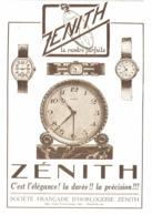 """PUB MONTRES Et REVEILS """" ZENITH """" 1927 ( 1 ) - Réveils"""