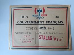 Stalag VI F (Bocholt) Colis De Noël 1943 - CRF Périgueux - Documents