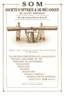 """PUB  APPAREILS MECANIQUES Et OPTIQUES  """" SOM """"  1927 ( 1 ) - Ciencia & Tecnología"""