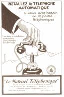 """PUB    """" LE MATERIEL TELEPHONIQUE  """"  1927 ( 1 ) - Autres"""