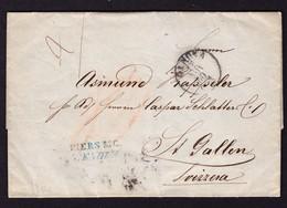 "1860 Faltbrief Incoming Mail. Genova Nach St. Gallen. Roter Taxvermerk ""80"" Rückseitig Bahnpoststempel (2) - ...-1845 Préphilatélie"