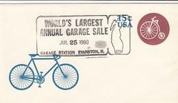 USA Postal Stacionary Cover Cancel 1980 Garaje Sale Bicycle Velo - 1961-80