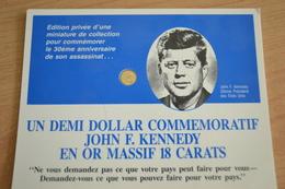 Carte Un Demi Dollar Commemoratif John F.Kennedy En Or Massif 18 Carats - Unclassified