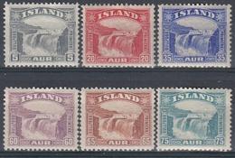 +B1788. Iceland 1931-32. Gullfoss Waterfall. AFA / MICHEL 150-55. MH(*). - Unused Stamps