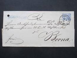 DR 1881 Pfennig Nr.42 EF Grimma - Borna Und Blauer Stempel Ra1 Portopflichtige Dienstsache Papiersiegel K. Amtshauptmann - Cartas