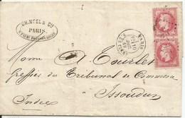 NAPOLÉON III  Lauré Empire Français  /  Paire  80c Rose  Sur Lettre  /  Envoi En 1869  De  PARIS  à  ISSOUDUN ( Indre ) - 1849-1876: Période Classique