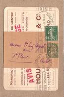 PUY DE DÔME , CANTAL - DE CLERMONT FERRAND A ST FLOUR , ENTIER TYPE BLANC VERT 5C + SEMEUSE 10C , H.B. QUIMPER - 1926 - Newspaper Bands