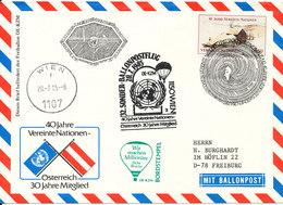 UN Vienna Air Mail Balloon Cover Wien 20-7-1985 Sent To Germany - Centre International De Vienne