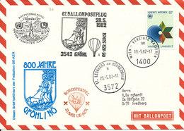 UN Vienna Air Mail Balloon Cover Gföhl 28-5-1982 Sent To Germany - Centre International De Vienne