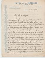 ALGER: HÔTEL DE LA REGENCE, A. Perrou Propriétaire / L. De 1923, VOIR HISTORIQUE En MARGE - Deportes & Turismo