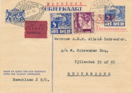 Nederlands Indië - 1937 - 3,5 Op 5 Cent Karbouwen, Briefkaart G61 + 25 Cent - EXPRESSE - Van Batavia Naar Buitenzorg - Indes Néerlandaises