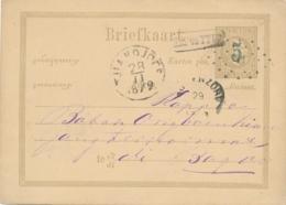 Nederlands Indië - 1879 - 5 Op 12,5 Cent Willem III, Briefkaart G4a Rond- En Puntst. TJIANDJOER Na Posttijd Naar Bogor - Indes Néerlandaises