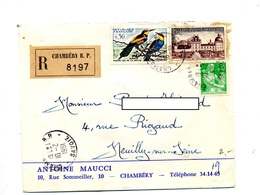 Lettre Recommandée Chambery Sur Guepier Valencay Moisson - Postmark Collection (Covers)