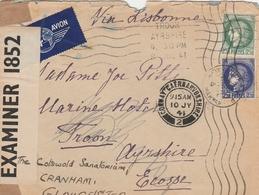 CERES 2 COULEURS 2F50 SUR LETTRE AVION VIA LISBONNE NICE 23/4/41 CENSURE - ECOSSE GRIFFE TROON AYRSHIRE 8/7/41 - 1921-1960: Modern Period