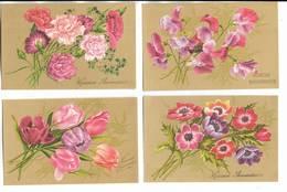 """Lot De 10 Cartes Postales Fantaisie - """"  Heureux Anniversaire """" - Cartes Fines Genre Célluloîd Avec Décors De Fleurs - Fantaisies"""