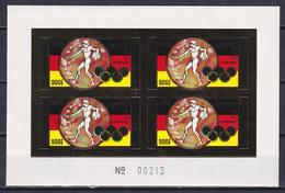 CAMBODIA 1972, Mi# 351B, Imperf Block Of 4, Golden Foil, Sport, Olympics Munich, MNH - Verano 1972: Munich