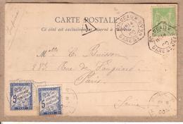 GIRONDE - CARTE AU DEPART DE BORDEAUX GARE ST JEAN POUR PARIS , LEVEE EXCEPTIONNELLE + 2 TAXES 5 C A PERCEVOIR - 1900 - Marcophilie (Lettres)