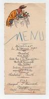Menu Manuscrit 1941 Et 1944 Illustration Pour L'un Raymonde Hacker Et L'autre Animaux Humanisés Lapin - Menus