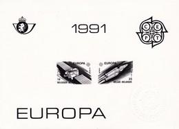 Feuillet Europa 2406 2407 Cachet à Sec ZNP24 Espace Satellite Navette Spatiale - Hojas Blanco & Negro
