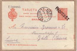 ESPAGNE SUISSE - CARTE DE BARCELONE POUR BÂLE , GRIFFE PAQUEBOT SUR ENTIER 10 CS + CACHET FERROVIAIRE ITALIE - 1914 - Briefe U. Dokumente