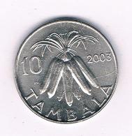 10 TAMBALA 2003 MALAWI /3412/ - Malawi
