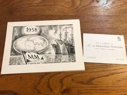 Carte De Vœux 1958 Cie Messageries Maritimes Agence De Dunkerque - Publicités