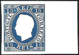 PORTUGAL, 1870/76, KING LUIS I, CE#38,  BLUE COLOR, PROOF, MH - Errors, Freaks & Oddities (EFO)