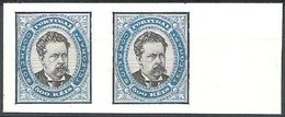 PORTUGAL, 1884/87, KING LUIS I, CE#64,  500 R., BLUE AND BLACK COLOR, PROOF IN PAIR, MH - Errors, Freaks & Oddities (EFO)