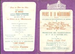 NICE . PALAIS DE LA MEDITERRANEE . CASINO . +PROGRAMME +MENU . 1955 - Programmes