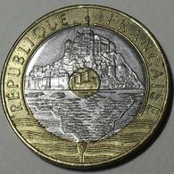 1992 - France - 20 FRANCS, Mont Saint Michel, V Fermé, Close V, KM 1008.2,  Gad 871 - Commémoratives