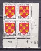 N° 951  Armoirie Picardie: Un Bloc De 4 Timbres Neuf Impeccable Sans Charnière Coins Datés 1.7.53 - Coins Datés
