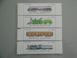 1988 Argentine  Yv 1627/30 ** MNH  - Michel 1922/5 Scott B123/9 SG 2114/7  Train  Transport - Neufs