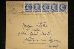 Lettre Avec 5x 60c Ceres N° 674, Paris 7/08/1946 Pas Courant - Marcophilie (Lettres)