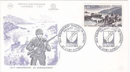 FDC 1969 Debarquement Provence 1944 Second War Saint Raphael Var Rhin Et Danube - 1960-1969