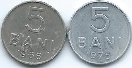Romania - Socialist Republic - 5 Bani - 1966 (KM92) & 1975 (KM92a) - Romania