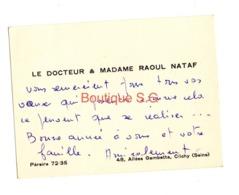 Carte De Visite Bonne Année Docteur Et Madame Raoul Nataf Clichy Seine - Visiting Cards