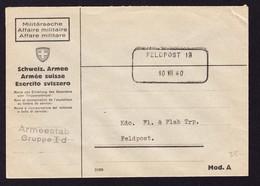 1940 Aushilfsstempel Feldpost Nr. 13 Auf Armeebrief. - Poste Militaire
