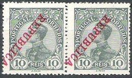 PORTUGAL, 1910, KING MANUEL II, CE#172, PAIR W/ INVERTED OVERPRINT, MNH - Errors, Freaks & Oddities (EFO)