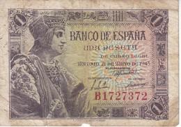 BILLETE DE ESPAÑA DE 1 PTA  DEL AÑO 1943 SERIE B CALIDAD RC (BANKNOTE) - 1-2 Pesetas